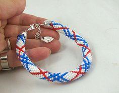 Bead crochet rope bracelet with striped pattern by RebekeJewelry