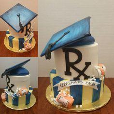 Pharmacy School Graduation Cake Pharmacy Cake, Pharmacy School, Graduation Cake, Graduation Party Invitations, Pharmacy Technician, School Life, Grad Parties, Graduate School, Beautiful Cakes