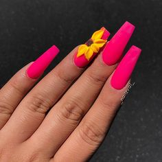 Amazing And Freash Acrylic Coffin Nails Art Designs In 2019 - Nail Art Connect Best Acrylic Nails, Acrylic Nail Designs, Nail Art Designs, 3d Flower Nails, Acryl Nails, Coffin Nails Long, Stiletto Nails, Fire Nails, Manicure E Pedicure