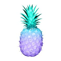 Pineapples in teal and purple Art Print