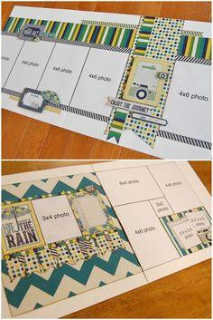 Scrapbook Generation - Debbie Sanders layout, top; Allison Davis layout, bottom.
