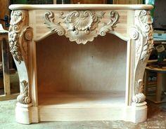 "Резьба по дереву ""Резная Сказка"" | ВКонтакте Antique Furniture, Cool Furniture, Fireplace Mantels, Baroque, Dream Bedroom, Little Houses, Wood Carving, Entryway Tables, Dragonflies"