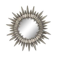 Home Decor :: Wall Decor :: Mirrors  Modern Metal Sunburst Mirror in Aged Silver Finish