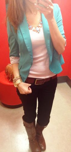 Skinny jeans, boots, colored blazer, white tee, and statement necklace.