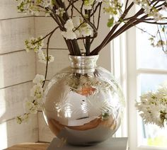 Etched Mercury Glass Vase | Pottery Barn
