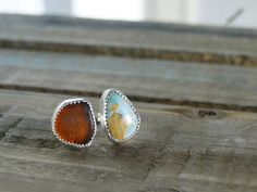 Turquoise and Sea Glass Ring, Adjustable Ring, Amber Sea Glass, Genuine Turquoise, Turquoise & Sea Glass, Sterling Silver, Mermaid Ring