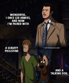 Quote from Supernatural 13x16 │  Castiel: Wonderful. I once led armies, and now I'm paired with a scruffy Philistine and a talking dog.  │ #Supernatural #Spn #Quotes