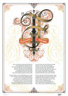 Typography: IF, Rudyard Kipling canvas poster Medieval – www.posterama.co