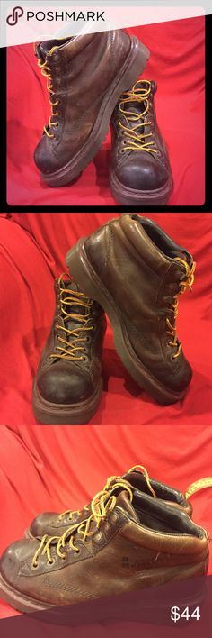 Doctor Martens Brown Leather Boots size 8 Doctor Martens Brown Leather Boots size 8 GUC Please see pictures for details of wear tab in back missing on boot shoes have been broken 😀so No hard work Dr. Martens Shoes Boots