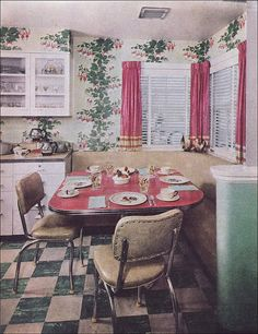 1952 Eat-in Kitchen (American Vintage Home) Tags: house home kitchen yellow design interior decoration mint style 1952 midcentury carnationpink Eat In Kitchen, Kitchen Decor, Kitchen Booths, Kitchen Corner, Diner Kitchen, Kitchen Living, Kitchen Ideas, Living Room, Mid Century Decor