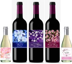 personalized CHERRY BLOSSOM wedding wine bottle by shadow090109