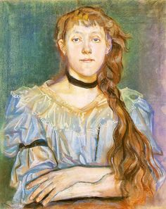Pastel portrait of a girl with a velvet ribbon around her neck by Stanisław Wyspiański, 1894 (PD-art/old), Muzeum Narodowe w Warszawie (MNW) Portrait Sketches, Portrait Art, Art Nouveau, Pastel Portraits, Classic Paintings, Collaborative Art, Online Painting, Online Art, Female Art