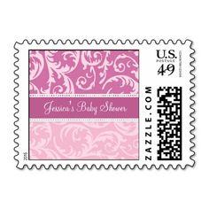 Pink Swirls Custom Baby Shower Stamps