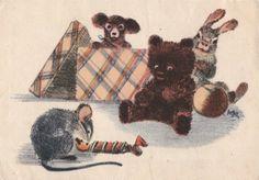 I. Kuznetsov, illustrator:  Mouse with candy - 1954, Izogiz 4x6 Soviet vintage postcard