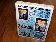 GRADUATION GIFT Personalized Photo CoLLAGE Blocks- Custom made to order with MULTiPLE FONTS and photos