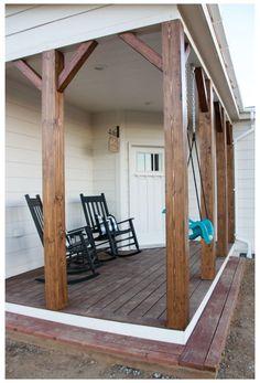 Wood Columns Porch, Porch Wood, Front Porch Posts, Front Porch Design, Home Porch, Diy Porch, Diy Front Porch Ideas, Farm House Porch, Front Porch Makeover