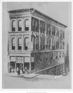 "Bullene, Moores, and Emery Building, 7th and Delaware - forerunner to Emery, Bird, Thayer.  Thomas B.  Bullene, one of the city's earliest settlers - ran the store.  from his diary ...""Monday, April 13, 1874 ""Have finally completed the new building and the retail room on Main street - is beautifully finished and finely lighted..."""