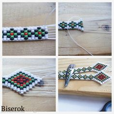 Starting with more baseline to get a nice width. Made by: начинаем ткать Bead Loom Bracelets, Beaded Bracelet Patterns, Bead Loom Patterns, Beading Patterns, Seed Bead Crafts, Seed Bead Jewelry, Native Beadwork, Native American Beading, Beading Tutorials