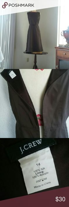 J Crew Brown Dress size 14 Beautiful J Crew Dress Mid length, sleeveless,zippered on the back, 100%Silk lining, very comfortable and nice looking. BUY WITH CONFIDENCE ALL MY ITEMS ARE AUTHENTIC AND FROM A CLEAN SMOKE FREE PET FREE HOME.  Thank you for looking!!! please share. J. Crew Dresses Midi