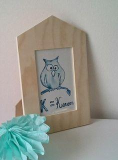 """NOUVEAU-Cadre déco aquarelle """"K=Kaouenn"""" original chouette bleue beige Noël : Décorations murales par milid"""