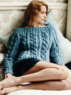 Cable Sweater - This glamorous, chunky cabled sweater uses Big Wool - (you must log-in to down-load)