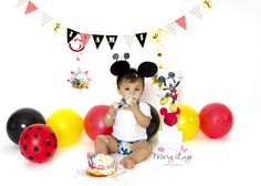 Mickey Mouse, First Birthday Cake Smash by Mary Lugo Photography. Banner created by me. Backdrop Theme Created by me.