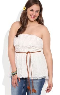 Deb Shops Plus Size High Low Crochet Ruffled Lace Tube Top with Belted Waist $17.50