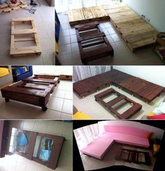 DIY Couch and table made with pallets.how do you DIY the cushions? Diy Couch, Pallet Couch, Pallet Furniture, Home Furniture, Diy Pallet Projects, Diy Projects To Try, Home Projects, Pallet Ideas, Diy Home Decor