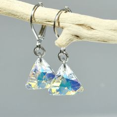 Dangle Earrings, Swarovski Crystal Earrings, Silver, Clear Triangle AB, Gift for Her, Crystal Jewelry, www.LeFrenchGem.com
