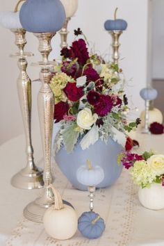 Dusty blue and cranberry fall decor 10
