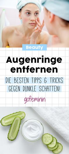 Get rid of dark circles: With these tricks it works!- Augenringe loswerden: Mit diesen Tricks klappt's! Remove dark circles: These are the best tips and home remedies for eye shadow - Beauty Routine Schedule, Daily Beauty Routine, Beauty Routines, Skincare Routine, Beauty Secrets, Diy Beauty, Beauty Skin, Beauty Hacks, Beauty Care