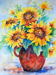 Watercolor of Sunflowers in Pottery - Original Martha Kisling Painting.