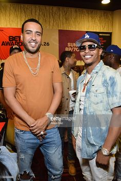 Recording artists French Montana (L) and T.I. attend the radio broadcast center during the 2016 BET Experience at the JW Marriott Los Angeles L.A. Live on June 24, 2016 in Los Angeles, California.