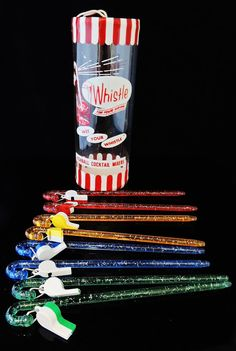 Vintage WHISTLE Cocktail  Swizzle Sticks c1950s - GREAT Bar Decor - Drink Stirrers