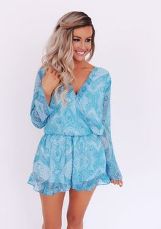 Pinkly smiling tanned ombré blonde in white bodysuit under sheer Teal Paisley Romper - Dottie Couture Boutique