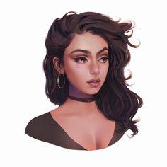 🍾 Took me roughly 4 hours in total. Digital Art Girl, Digital Portrait, Portrait Art, Portraits, Cartoon Girl Drawing, Girl Cartoon, Cartoon Art, Kpop Drawing, Female Character Design