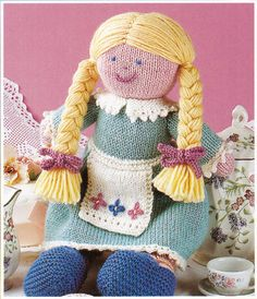 Double knitting yarn is required to make this charming Annie rag doll. A lovely gift to knit. Pattern available on Ebay.