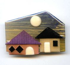 Vintage House Pins by Lucinda Moon Houses Brooch Pin  #HousePinsbyLucinda