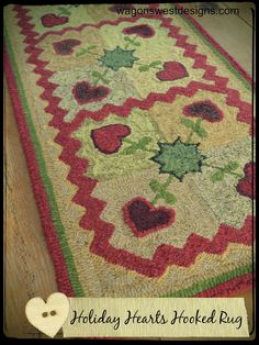 """""""Holiday Hearts Hooked Rug"""", from Be Merry: Quilts and Projects for Your Holiday Home."""