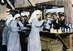 WW1: RED CROSS, 1918. Nurses serving soldiers at an American Red Cross canteen in France during World War I, c1918.