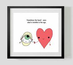 Heart and Eye Friends Original Mini Illustation by EstefAzevedo, $12.00