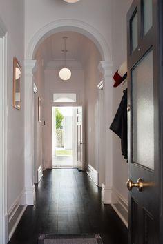 Federation era bungalow corridor view in Palmerston St., Australia. Renovation by Vittino Ashe   NONAGON.style