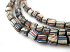 150 Black Stripe Java Gooseberry Beads  African Trade Beads