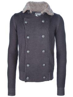 HUGO PRATT Fur collar cardigan