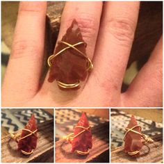 Wire wrapped Arrow head ring by MadebyLeahSue on Etsy, $12.00