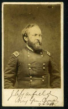 A signed carte de visite of President James A Garfield when he was a Brigadier General for the Union, during the Civil War.