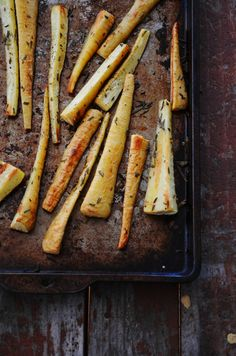 Baked Rosemary Parsnip Fries This dish was prepared alongside my Argentinian Steak with Chimichurri Sauce recipe this past weekend. Parsnips are probably my favorite home fry recipe, narrowly beati…