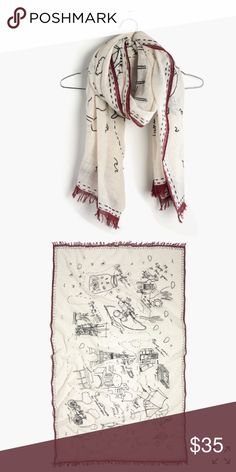 """HP 🎉🎈Madewell daycation scarf HP EverydayEssentialsParty🎈🎈NWOT(new without tag never worn), color:antique cream, Riding camels in the desert. Catching fireflies in a jar. This hand-drawn scarf features a (totally relatable) summer bucket list dreamed up by one of the designers.    Cotton. 63""""L x 38 3/5""""W. Machine wash. Madewell Accessories Scarves & Wraps"""