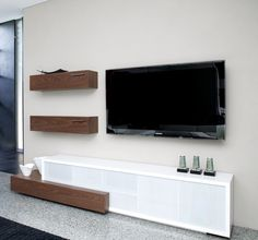 Phoenix AV Unit - Walnut Veneer Drawers and wall boxes with white lacquer