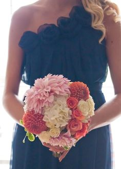 Coral and white Bouquet of White Hydrangea, and White, Coral and Orange Dahlias by Andrea Layne Floral Design (www.andrealaynefloraldesign.com)